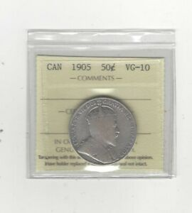 Click now to see the BUY IT NOW Price! 1905  ICCS GRADED CANADIAN SILVER 50 CENT   VG 10