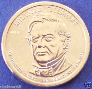 2010 D UNC PRESIDENTIAL GOLDEN DOLLAR COIN MILLIARD FILLMORE FROM NEW MINT ROLL