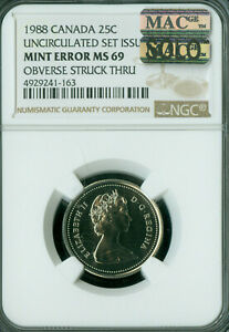 Click now to see the BUY IT NOW Price! 1988 ERROR CANADA 25 CENTS NGC MS69 PQ MAC SOLO FINEST OBVERSE STRUCK THRU