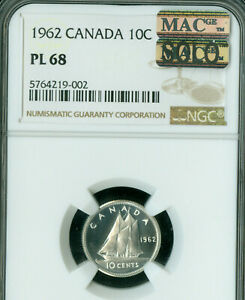 Click now to see the BUY IT NOW Price! 1962 CANADA 10 CENTS NGC MS68 PL PQ SOLO FINEST GRADE MAC SPOTLESS