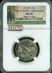 Click now to see the BUY IT NOW Price! 2014 S GREAT SMOKEY MOUNTAINS QUARTER NGC MS68 PQ FINEST REGISTRY MAC SPOTLESS