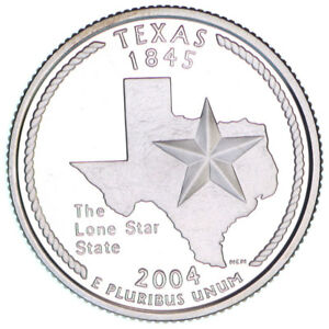 2004 S TEXAS SILVER PROOF QUARTER ROLL 40 GEM COINS TUBE $10 FACE VALUE
