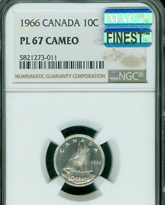 Click now to see the BUY IT NOW Price! 1966 CANADA 10 CENTS NGC PL67 CAMEO MAC FINEST REGISTRY MAC SPOTLESS