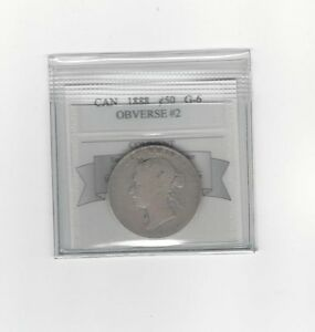 1888 OBV 2   COIN MART GRADED CANADIAN SILVER 50 CENT   G 6