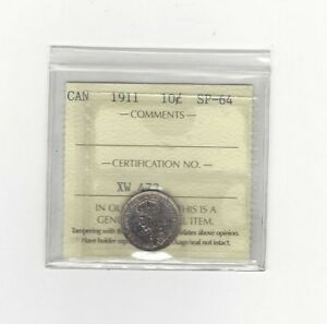 Click now to see the BUY IT NOW Price!   1911   ICCS GRADED CANADIAN  10  CENT   SP 64