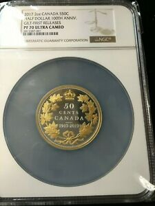Click now to see the BUY IT NOW Price! 2017 CANADA 50 SILVER 2OZ AG NGC PF 70 GILT FIRST RELEASE UHC  OVERSIZED