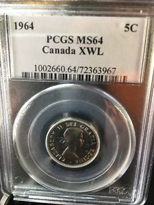 Click now to see the BUY IT NOW Price!   1964 EXTRA WL   PCGS GRADED CANADIAN  5 CENT   MS 64