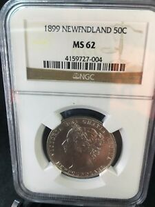 Click now to see the BUY IT NOW Price!   1899 WIDE 9   NGC GRADED NEWFOUNDLAND  SILVER 50 CENT   MS 62