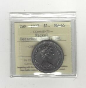 1977 DETACHED JEWEL SWL  ICCS GRADED CANADIAN NICKEL DOLLAR   MS 65