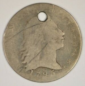 1795 FLOWING HAIR SILVER HALF DIME HOLED FILLER GRADE H10C
