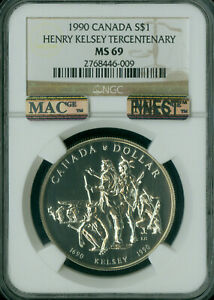 1990 CANADA HENRY KELSEY $1 DOLLAR NGC MS69 PQ MAC FINEST SPOTLESS