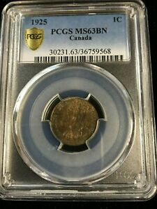 Click now to see the BUY IT NOW Price! 1925  PCGS GRADED CANADIAN SMALL ONE CENT   MS 63    9568