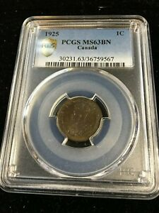 Click now to see the BUY IT NOW Price! 1925  PCGS GRADED CANADIAN SMALL ONE CENT   MS 63    9567