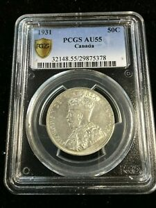 Click now to see the BUY IT NOW Price! 1931  PCGS GRADED CANADIAN  50 CENT   AU 55