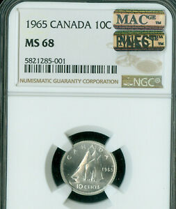 Click now to see the BUY IT NOW Price! 1965 CANADA 10 CENTS NGC MS68 PL PQ MAC FINEST GRADE MAC SPOTLESS