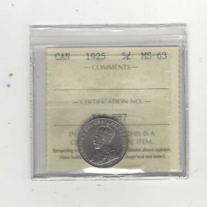 Click now to see the BUY IT NOW Price! 1925  ICCS GRADED CANADIAN  5 CENT   MS 63