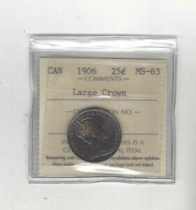 Click now to see the BUY IT NOW Price! 1906 LARGE CROWN  ICCS GRADED CANADIAN 25 CENT   MS 63