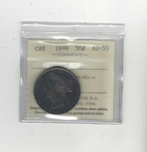 1899  SMALL 1ST 9 ICCS GRADED CANADIAN SILVER 50 CENT   AU 55 CLEANED