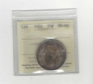Click now to see the BUY IT NOW Price! 1901  ICCS GRADED CANADIAN SILVER 50 CENT   MS 65