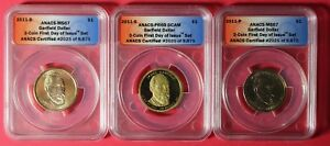 3 COIN SET 2011 P D S GARFIELD PRESIDENTIAL DOLLARS ANACS FIRST DAY OCE9923