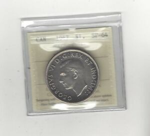 Click now to see the BUY IT NOW Price! 1947  MAPLE LEAF ICCS GRADED CANADIAN SILVER DOLLAR   SP 64