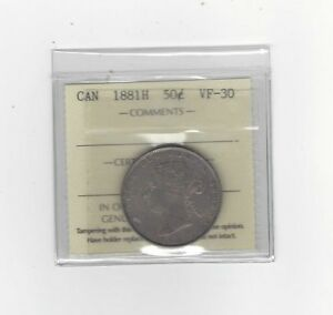1881H   ICCS GRADED CANADIAN SILVER 50 CENT   VF 30