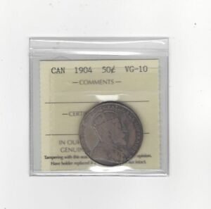 1904   ICCS GRADED CANADIAN SILVER 50 CENT   VG 10