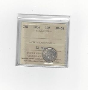 Click now to see the BUY IT NOW Price! 1934 ICCS GRADED CANADIAN  10 CENT   AU 58