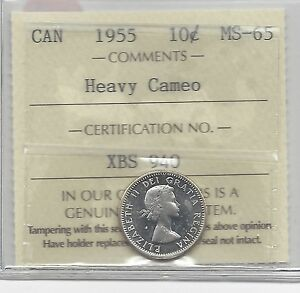 Click now to see the BUY IT NOW Price!   1955   ICCS  GRADED CANADIAN  10  CENT   MS 65 HEAVY CAMEO