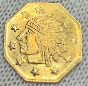 1849 1/2 CALI FRACTIONAL PIONEER GOLD PIECE WITH DIE CLASHES ON REVERSE