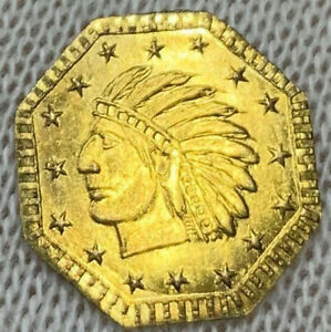 1854 LUSTROUS 1/2 CALIFORNIA FRACTIONAL PIONEER GOLD