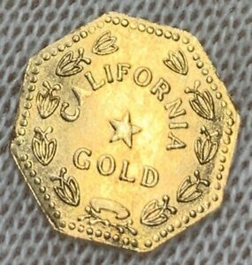 FLAWLESS 1859 OCT 1/2 CA FRACTIONAL GOLD COIN