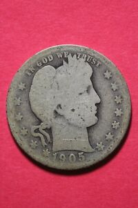 LOW GRADE 1905 P BARBER LIBERTY QUARTER EXACT COIN SHOWN FLAT RATE SHIP OCE 102