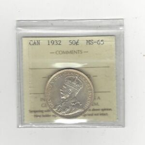 Click now to see the BUY IT NOW Price! 1932  ICCS GRADED CANADIAN 50 CENT   MS 65