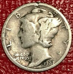 A NICE VINTAGE 1927 P MERCURY SILVER DIME OLD US COIN JAN424
