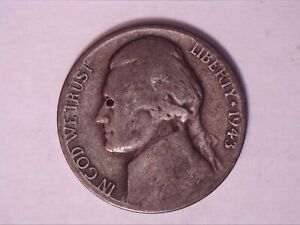 ERROR  5 CENT 1943 D JEFFERSON HOLE IN EYE
