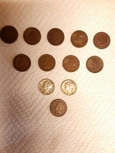 INDIAN HEAD CENT PENNY US COINS 1880 81 841900 ETC   2 SILVER MERCURY DIMES