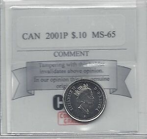 2001P   COIN MART GRADED CANADIAN  10  CENT   MS 65