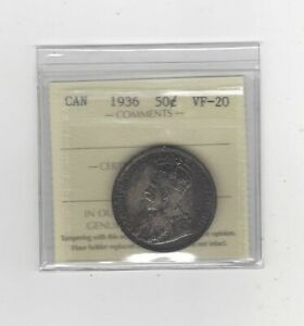 1936  ICCS GRADED CANADIAN 50 CENT   VF 20