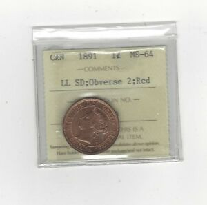 Click now to see the BUY IT NOW Price! 1891 LL:SD OBV 2 ICCS GRADED CANADIAN LARGE ONE CENT   MS 64