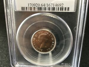 Click now to see the BUY IT NOW Price!   1964 EXTRA WATERLINE   PCGS GRADED CANADIAN  NICKEL 5 CENT   MS 64