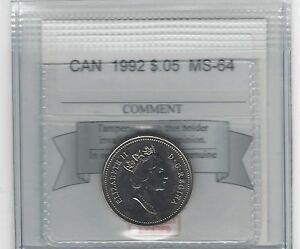 1992   COIN MART GRADED CANADIAN FIVE CENT   MS 64