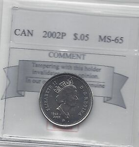 2002P   COIN MART GRADED CANADIAN FIVE CENT   MS 65