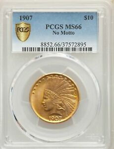 Click now to see the BUY IT NOW Price! 1907 US GOLD $10 INDIAN HEAD EAGLE   NO MOTTO   PCGS MS66