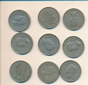 GREAT BRITAIN   9 MIXED SHILLINGS