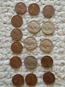 VINTAGE US COIN LOT OF 16 BUFFALO NICKELS & ONE CENT 1910S 1930S