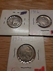 COINS BUFFALO NICKELS 1916 1925 MIXED LOT 1913 WHEAT PENNY   9 MORE  1966 AU P