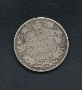 CANADA SILVER 25 CENT COIN 1906 YEAR