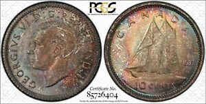 1937 TEN CENTS 10 PCGS MS 65   MULTI COLOR RAINBOW TONES & STRONG LUSTER