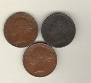 THREE 1822/1843 & 1853 FARTHINGS IN GOOD FINE OR BETTER CONDITION.